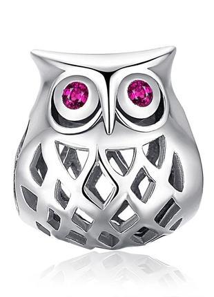 925 проба серебро  рубин сова шарм на браслет ,подарок для для...