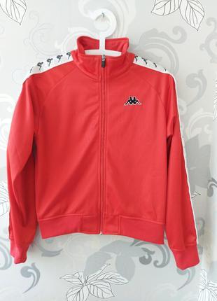 Яркая красная олимпийка спортивная кофта ветровка куртка курто...