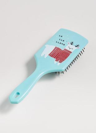 Новая голубая расческа щетка для волос принт лама в свитере но...