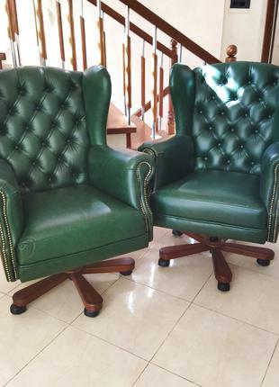Новое кресло руководителя чстер из натуральной кожи, крісло шкіря