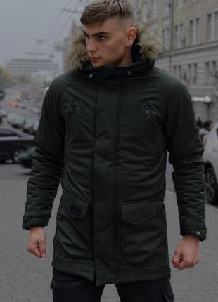 Мужская зимняя парка хаки HotWint с мехом