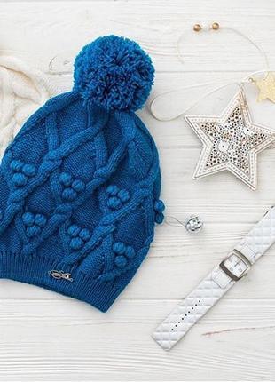 Синяя шапка с бубоном шерстяная эксклюзив яркая atrics
