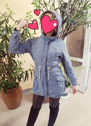 Джинсовая парка ветровка куртка плащ весенняя осенняя