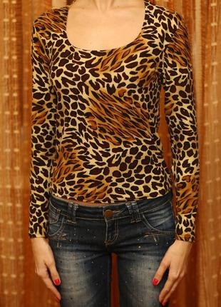 Кофта с длинным рукавом, свитер, кофта в леопард