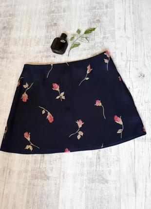 Юбка в цветочный принт, атласная юбка