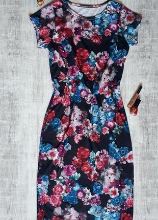 Платье миди в цветочный принт, платье в цветы