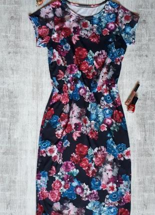 Длинное платье в цветочный принт