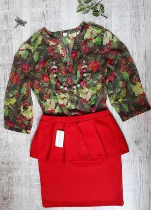 Рубашка, блузка в цветочный принт