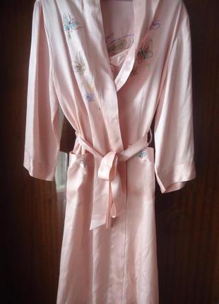 Роскошный шелковый комплект (пенюар+халат)