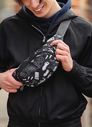 Черная Поясная сумка, Бананка, барсетка с принтом найк, Nike.