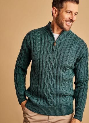 Шикарный теплый свитер на молнии с тимьяном woolovers l шерсть...
