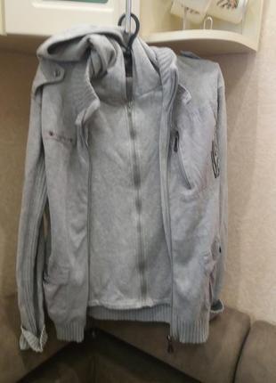 Серая двойная мужская кофта с капюшоном dunes