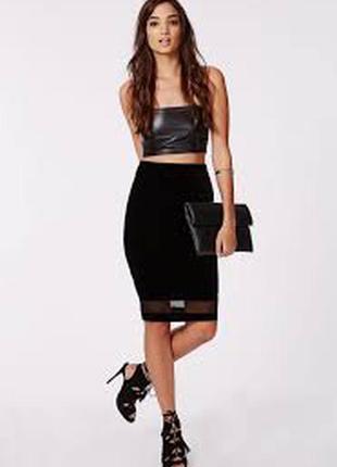 Черная юбка миди с сеточкой карандаш по фигуре в обтяжку длинн...