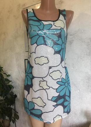 Платье-майка, пайетки, цветы, блестящее, вискоза