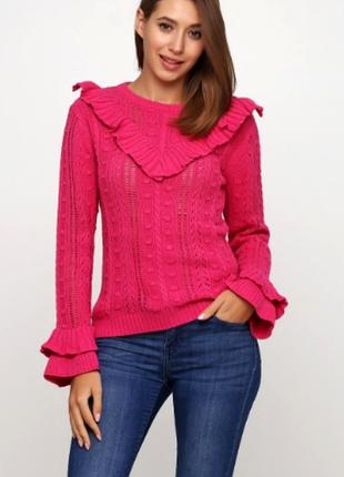 Стильный малиновый джемпер свитер с рюшами от by very