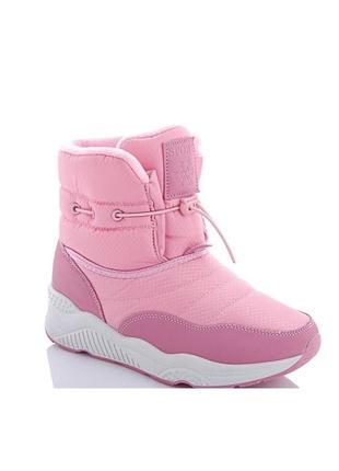 Женские зимние розовые пудровые короткие ботинки дутики