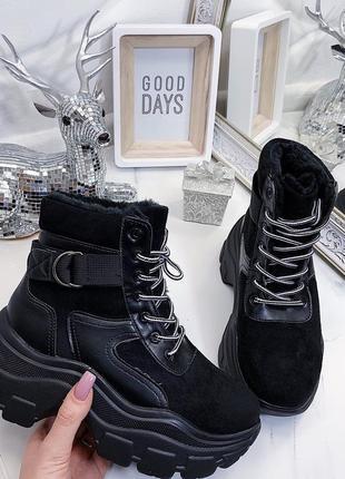 Новые женские зимние черные ботинки