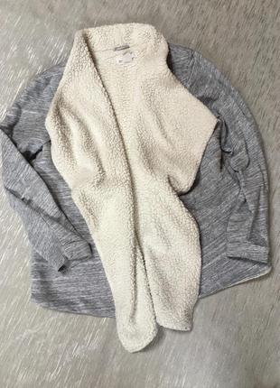 Тёплая кофта жакет пиджак утеплённая  меланж свободного стиля ...
