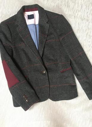 Крутой трендовый пиджак с латками на рукавах  шерсть шерстяной...