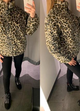Короткая леопардовая шуба меховая куртка amisu есть размеры