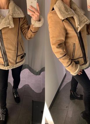 Вельветовая куртка авиатор косуха на меху курточка amisu есть ...