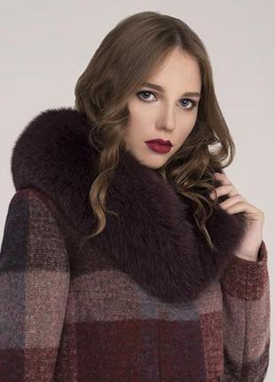 Пальто шерсть зима с натуральным мехом