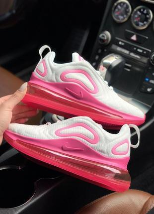 Яркие женские кроссовки nike white/pink из текстиля (весна-лет...