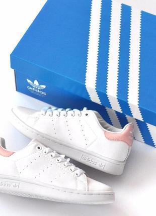 Нереально крутые кеды adidas stan smith с розовым задником (ве...