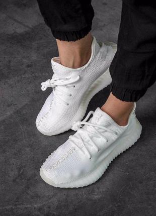Шикарные кроссовки adidas yeezy 350 white из дышащего текстиля...