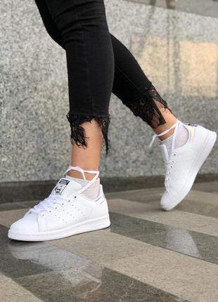 Шикарные кожаные кеды adidas stan smith в белом цвете (весна-л...