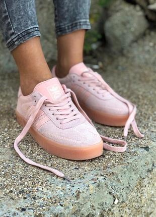Шикарные женские кроссовки adidas в розовом цвете из замши (ве...