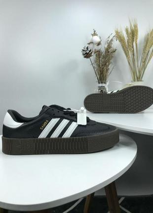 Шикарные кроссовки adidas samba в черном цвете (весна-лето-осе...
