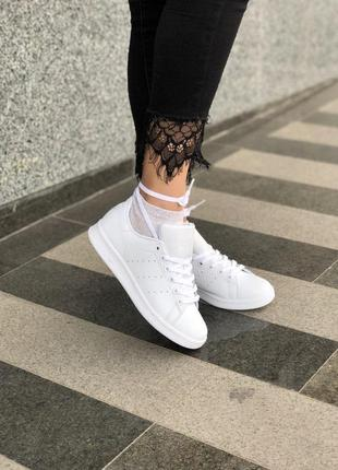 Легкие кроссовки adidas stan smith в белом цвете из кожи (весн...