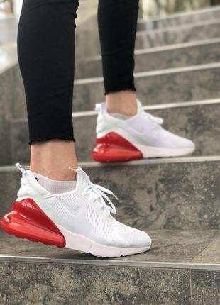 Шикарные женские кроссовки nike 270 в бело-красном цвете (весн...