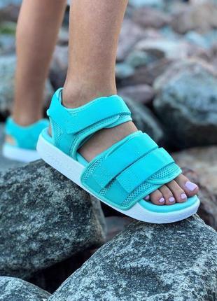Шикарные женские сандалии adidas в бирюзовом цвете (весна-лето...