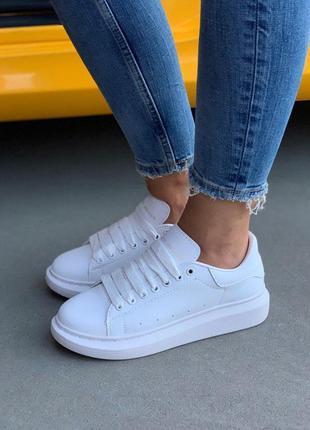 Полностью белые женские кроссовки mcqueen (весна-лето-осень)😍