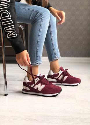 Красивые и удобные кроссовки new balance в бордовом цвете (вес...