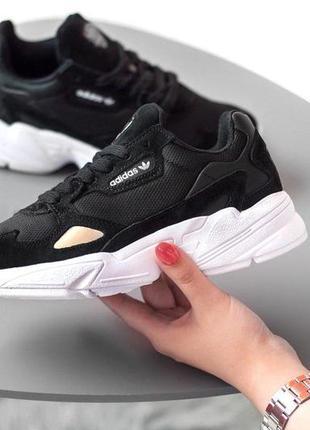 Замечательные женские кроссовки adidas falcon в черном цвете (...