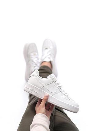 Шикарные кроссовки nike air force в белом цвете (весна-лето-ос...