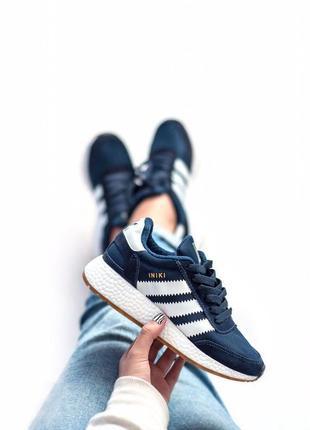 Шикарные спортивные кроссовки adidas iniki в синем цвете (весн...