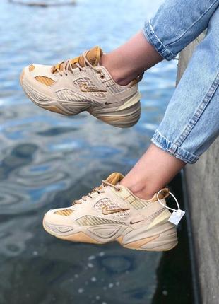 Шикарные кроссовки nike m2k tekno gold (весна-лето-осень)😍