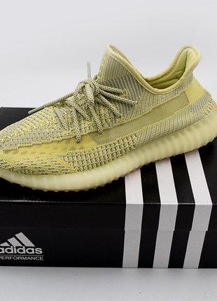 Полностью рефлективные кроссовки adidas yeezy в нежно желтом ц...