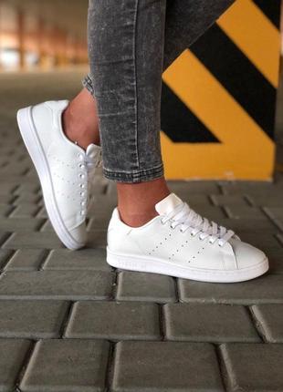 Легкие и красивые кроссовки adidas stan smith в белом цвете (в...