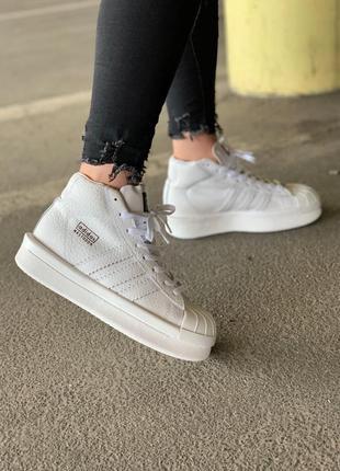 Стильные кожаные кроссовки adidas x rick owens triple white 😍