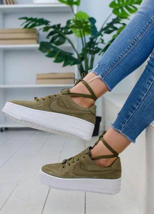 Стильные замшевые кроссовки nike в цвете midnight green (весна...