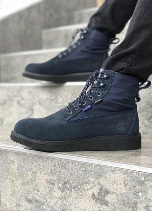 Шикарные мужские ботинки timberland в темно-синем цвете (весна...