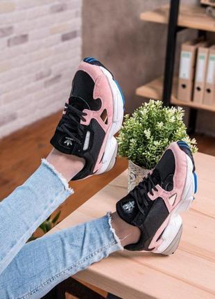 Стильные кроссовки adidas falcone в черно-розовом цвете (весна...