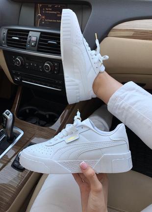 Красивые полностью белые кроссовки puma basket (весна-лето-осе...
