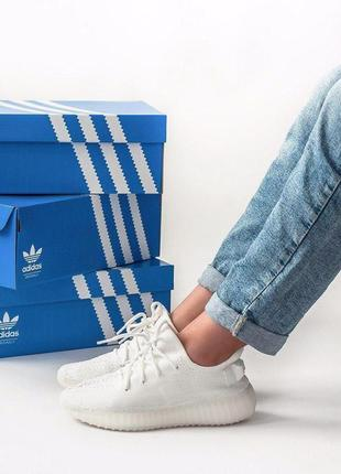 Легкие и удобные кроссовки adidas yeezy в белом цвеьте (весна-...