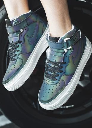Стильные женские кроссовки nike air force reflective (весна-ле...
